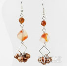 Dangle Style Brown Freshwater Pearl and Agate and Crystal Long Earrings