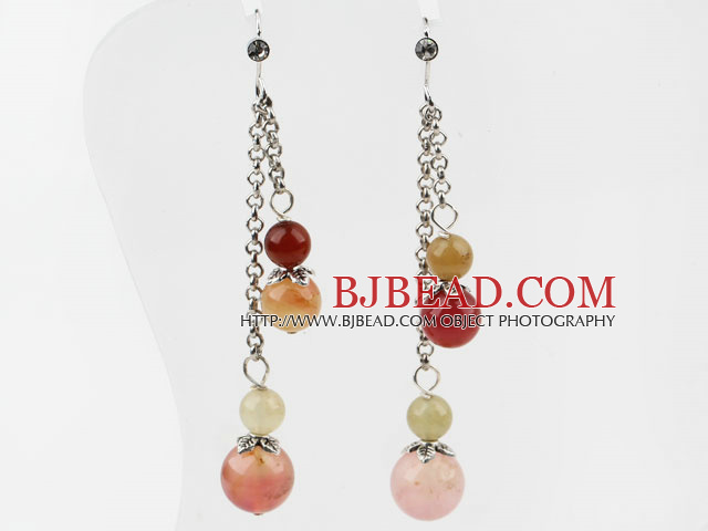 Dangle Style Round Three Color Jade Long Earrings with Metal Chain
