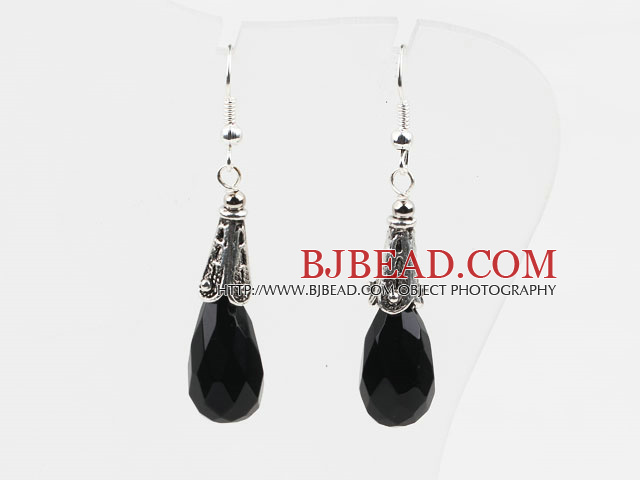 Classic Design Black Color Long Style Drop Shape Faceted Crystal Earrings
