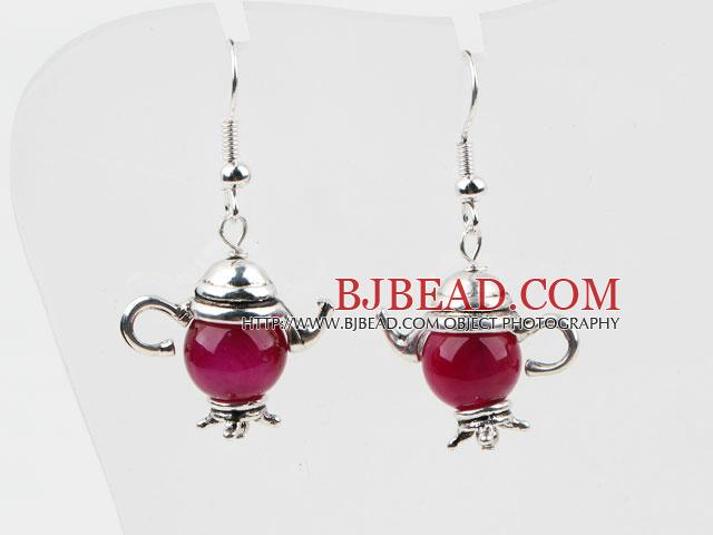Lovely Style Rose Pink Agate Teapot Shape Earrings