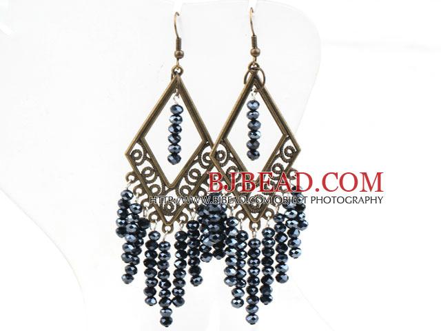 Vintage Style Black Gray Crystal Earrings