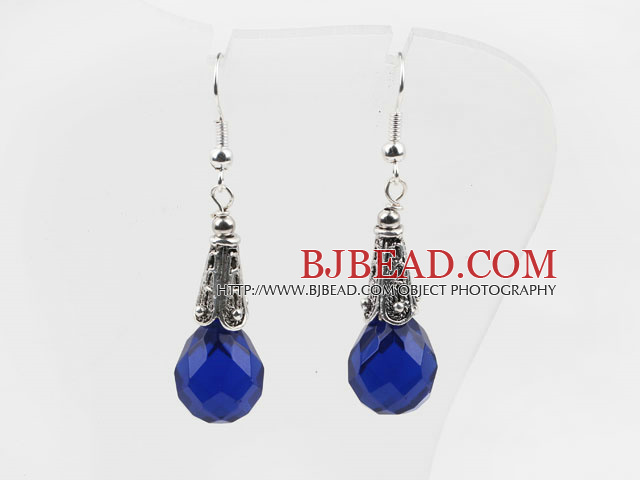 Classic Design Dark Blue Color Drop Shape Faceted Crystal Earrings