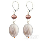pearl and gray agate earrings