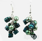 Green Style Green Freshwater Pearl and Phoenix Stone Earrings under $ 40