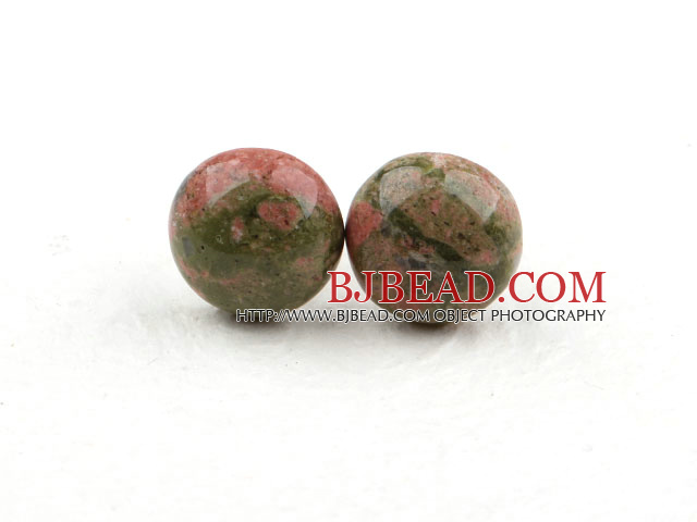 Classic and Simple Design Round Green Piebald Stone Studs ( Metal Needle )