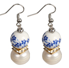 Elegant Vintage Natural White Freshwater Pearl Blue & White Porcelain Beads Dangle Earrings under $ 4