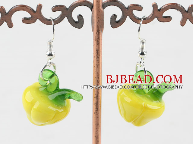 Lovely Style Yellow Colored Glaze Vegetalbe Earrings