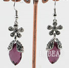 flower decorated elegant tear drop earrings with rhinestone