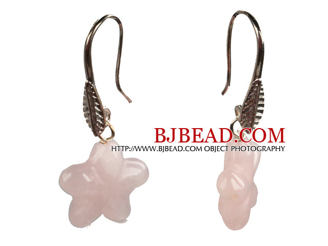 Lovely Style Star Shape Rose Quartz Dangle Earrings