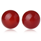 Classic and Simple Design Round Red Carnelian Studs ( Metal Needle )