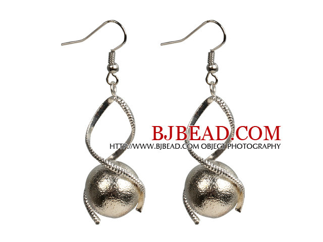 Fashion Design Frosted Metal Beads Spiral Shape Dangle Earrings
