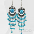 Dangle and Vintage Style Blue Turquoise Tassel Charm Earrings