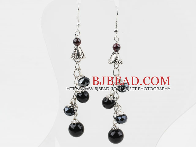 Dangle Style Black Crystal and Black Agate Long Earrings