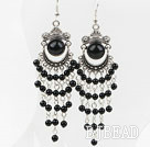 Black Agate Tassel Long Style Earrings