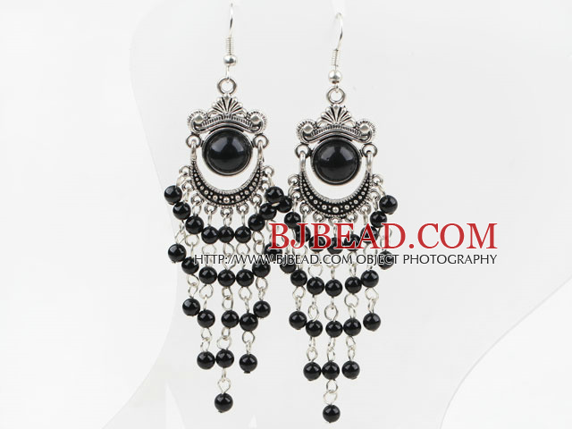 Black Agate Tassel Long Style Earrings