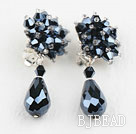 Elegant Style Black Crystal Clip Earrings