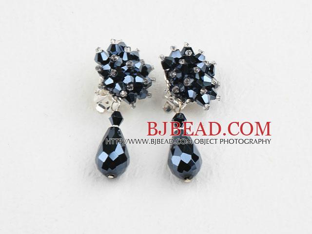 Elegant Style Black Crystal Clip Earrings