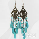 Vintage Style Long Drop Turquoise Earrings