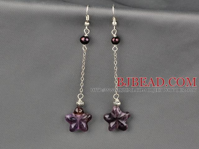 Dangle Style Starfish Shape Amethyst and Pearl Long Earrings