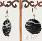 Flat Round Black Colored Glaze Earings