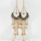 Vintage Style Champagne Color Crystal Tassel Long Earrings