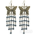 Vintage Style Black Seashell Beads Earrings with Bronze Butterfly Accessories