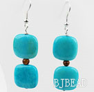 Dangle Style Square Shape Blue Spider Stone and Tiger Eye Earrings