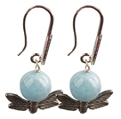 Special New Design Natural Aquamarine Alloyed Butterfly Dangle Earrings