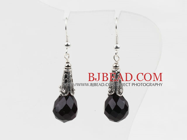 Classic Design Black Color Drop Shape Faceted Crystal Earrings