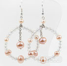 Big Style New Design Pink Pearl and Crystal Earrings