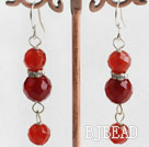 red carnelian ball earrings