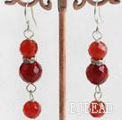 red carnelian ball earrings