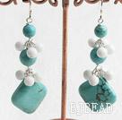 turquoise white porcelain stone earring