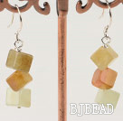 three color jade earrings