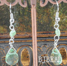 dyed green pearl crystal earrings
