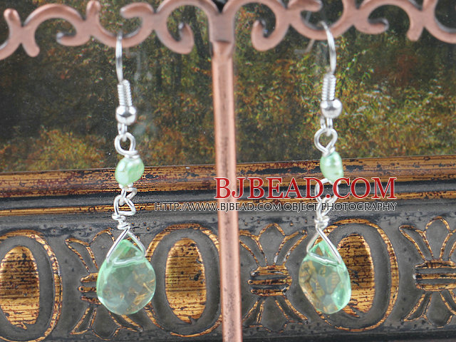 dyed green pearl crystal earrings