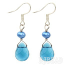 dyed blue pearl crystal earrings