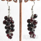 garnet long style earrings