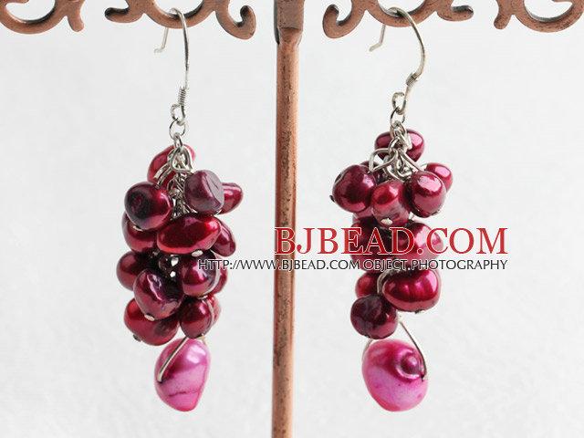 dyed pearl cluster earrings