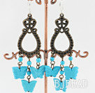 exquisite dyed turquoise butterfly earrings