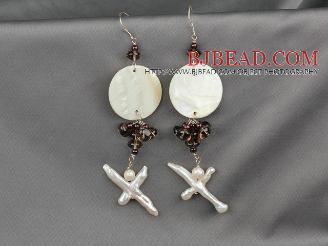 garnet pearl shell earrings