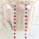 coral hematite earring
