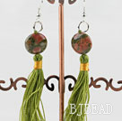 green piebald stone earrings