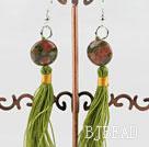 green piebald stone earrings