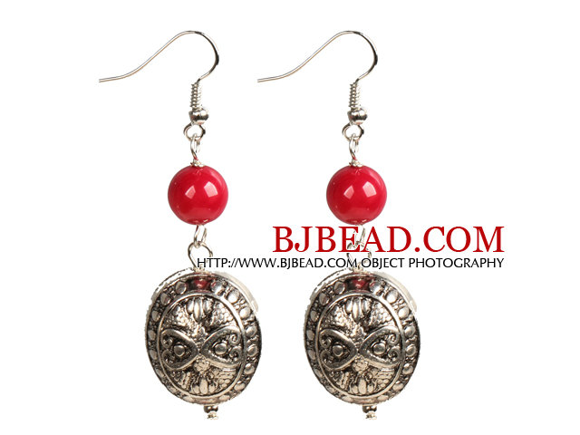 Simple Design Tibet Silver Charm Red Coral Beads Dangle Earrings