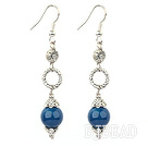 long style blue agate earrings