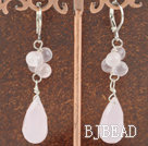 rose quartz crystal earring