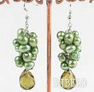 green pearl crystal cluster earrings