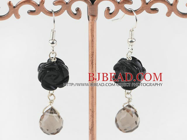 black stone and crystal drop earrings
