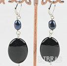cute black pearl and black agate earrings